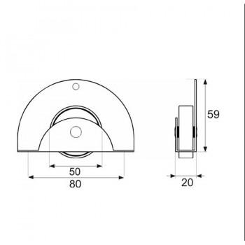 Rueda Nido Circular Gris 50mm MICEL