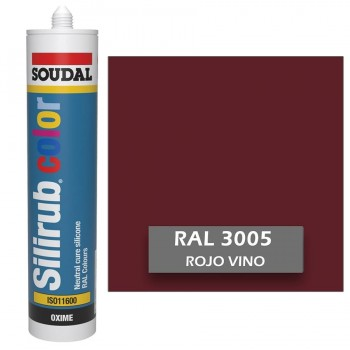 Silicona Rojo Vino RAL 3005 Neutra SOUDAL Silirub Color 300ml