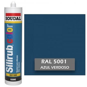 Silicona Azul Verdoso RAL 5001 Neutra SOUDAL Silirub Color 300ml