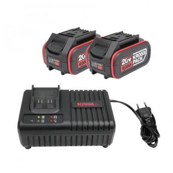 Kit 2 Baterías 4Ah + Cargador Rápido KRESS KAD21