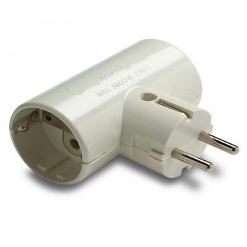 Adaptador Doble TT lateral 16A/250V  Portacontactos en Cerámica Reforzado