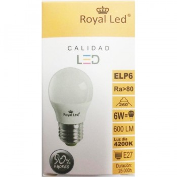 Bombilla LED Esférica E27 6W 4200K ROYAL LED