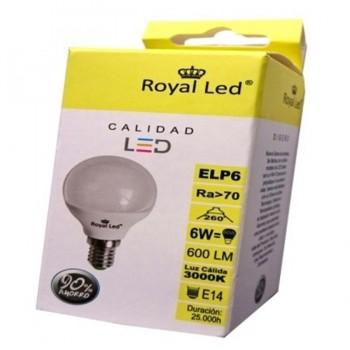 Bombilla LED Esférica E14 6W 3000K ROYAL LED