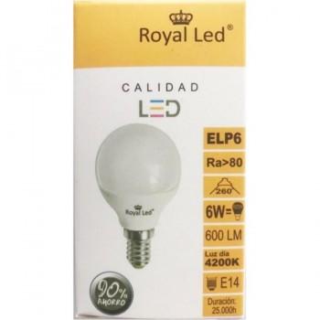 Bombilla LED Esférica E14 6W 4200K ROYAL LED