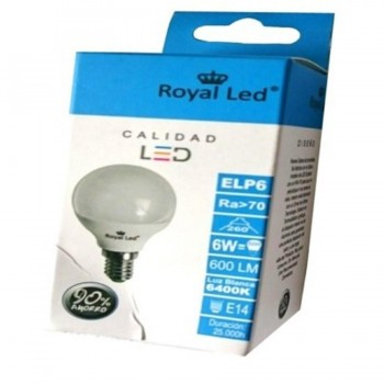Bombilla LED Esférica E14 6W 6400K ROYAL LED