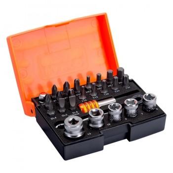 Juego de puntas y vasos estándar de 1/4\c para tornillos 26 Piezas Bahco 2058/S26-2