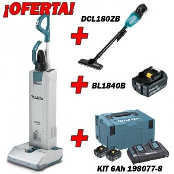 Aspirador Vertical Makita DVC560Z + KIT DE 6Ah + DCL180ZB + BL1840B