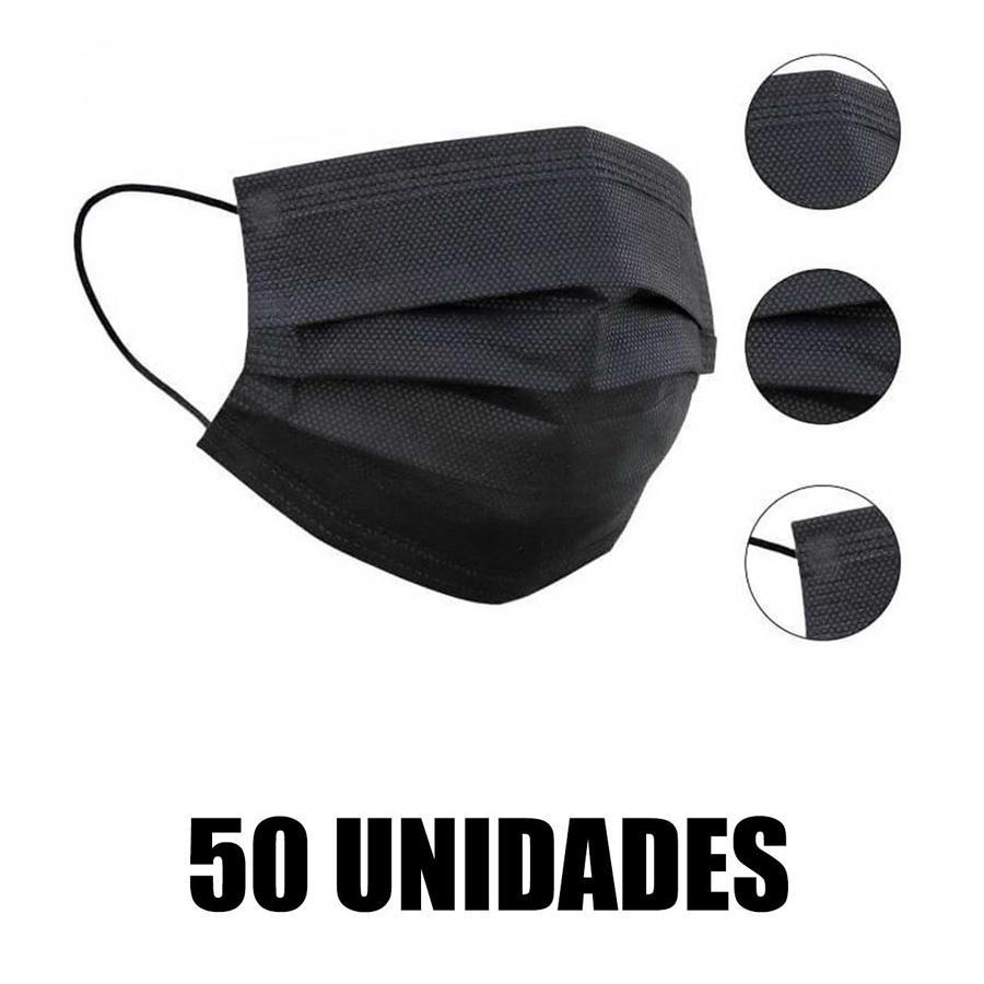 Mascarilla Higiénica de 3 Capas Autofiltrante Negra (Caja de 50 uds)