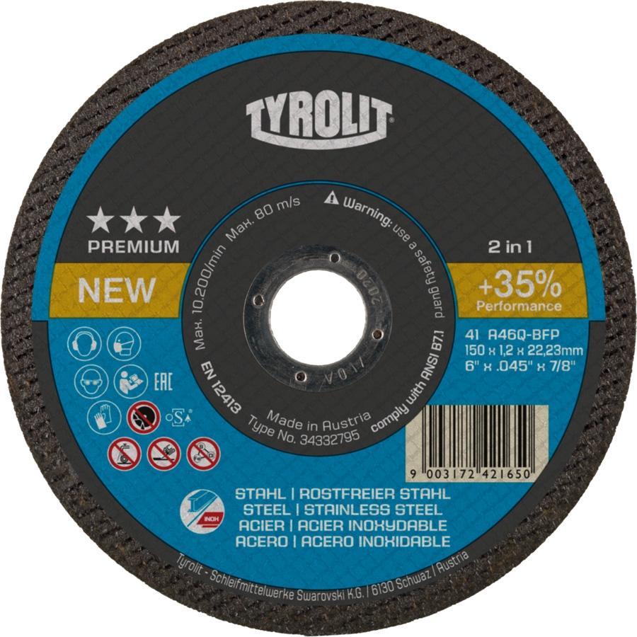 Tyrolit Disco Corte 2en1 Inox / Acero Premiun 115X1X22