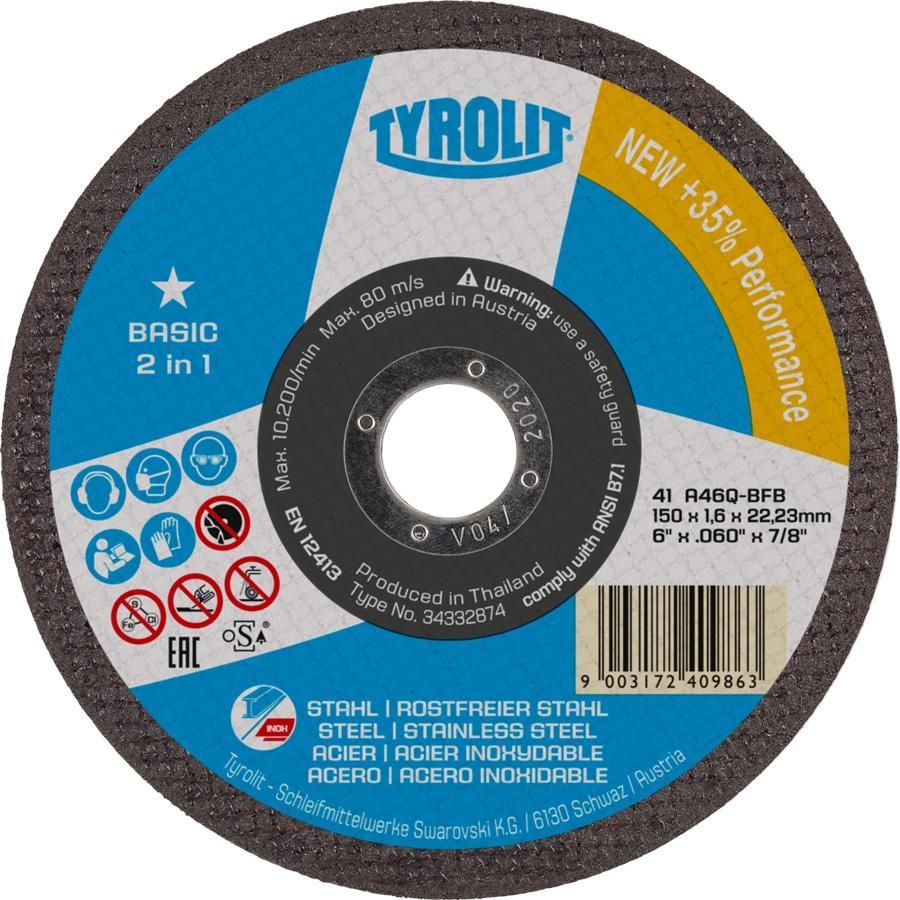 Tyrolit Disco Corte 2en1 BASIC 150X2,5X22,2  Acero e Inox